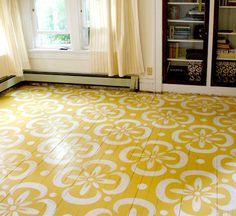 Stenciled wood floor