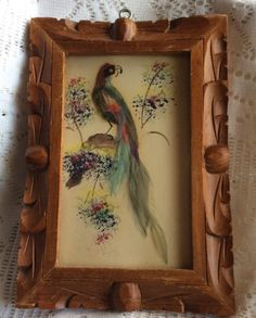 Vintage made in Mexico Mexican feather art. Hand carved wood frame. Watercolor painting with real bird feathers . Small size measures 7 x 5