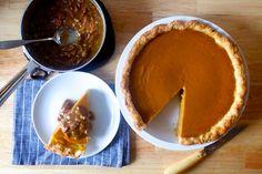 classic pumpkin pie with pecan praline sauce