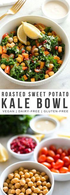 Roasted Sweet Potato + Kale Bowl - Real + Vibrant