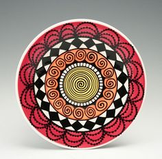 Bohemian Mandala Plate / Yellow Orange Red Black and White