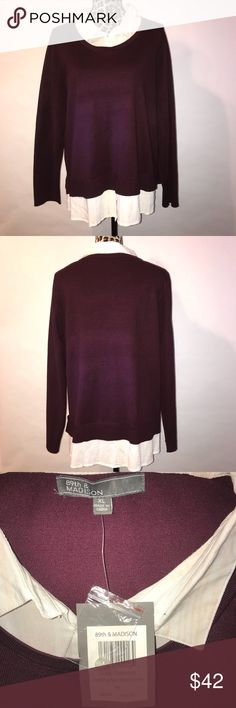 89th & Madison plum sweater shirt sz. XL Beautiful women's sweater shirt, brand name is 89th & Madison, size XL, plum color, NWT 89th & Madison Sweaters