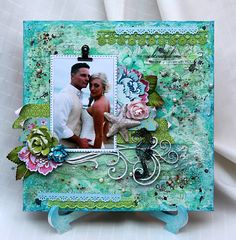 Colorful Memories: Love, Blue Fern and Mixed Media Canvas