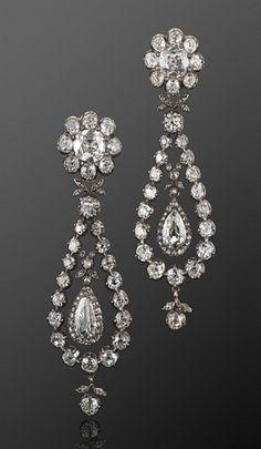 Georgian Old Mine Diamond Night and Day Pendant Earrings, circa 1800