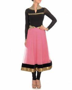 Black & Baby Pink Anarkali Suit