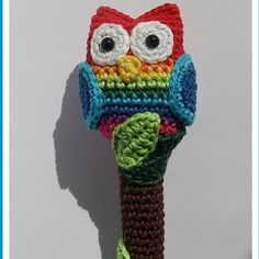 Cute and colourful knitted owl