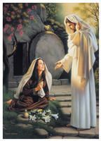 Jesus Christ and Mary Magdalene - He is our Lord and Savior who took all things upon him and gave up his will for the Father's and his life for our lives. Images Du Christ, Images Bible, Pictures Of Christ, Jesus And Mary Pictures, Church Pictures, Pics Of Jesus, Lds Pictures, Temple Pictures, Easter Pictures
