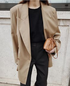 Beige Style, Double Breasted Blazer, Camel Coat, Black Trousers, Leather Shoulder Bag, Leather Boots, Personal Style, In This Moment, My Style