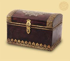 WOODEN ANTIQUE-STYLE BOX: Rewind to the past with your dear friends as you send them good wishes and love packed in antique-style wooden boxes. They'll marvel at the intricate brass work on the box and treasure it as much as your actual gift inside. These boxes are available in multiple sizes.