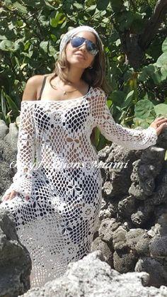 Crochet Beach Dress White Long Dress Vintage Handmade Cover up