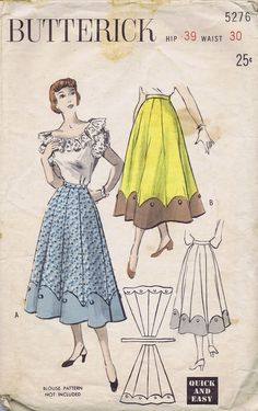"1950s VINTAGE 8 GORE SKIRT SEWING PATTERN 5276 BUTTERICK WAIST 30 HIP 39"" UNCUT 
