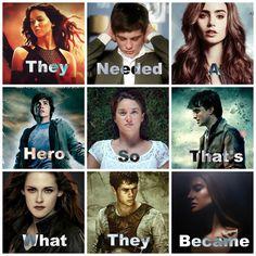 Katniss, Bella, Percy, Tris, Clary, Harry, Hazel