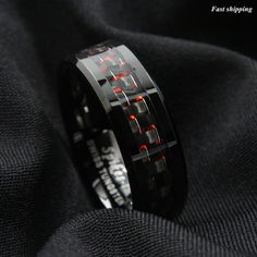 Men's Tungsten Ring with Carbon Fiber 8mm Black and red Wedding Band men jewelry | Jewelry & Watches, Men's Jewelry, Rings | eBay!