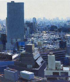 <i>Ikeburo from Hotel Window II, Late Morning, Tokyo</i> 2016 Oil on Board 18½ x 15½ ins,