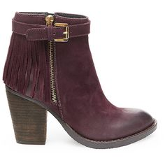 Steve Madden Women's Woodmeer Booties ($170) ❤ liked on Polyvore featuring shoes, boots, ankle booties, ankle boots, burg nubk, leather bootie, fringe boots, high heel boots, steve madden booties and short boots