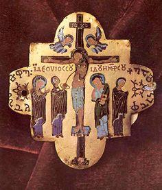 Cross from Shemokmedi (Khakhuli icon (?))  , champléve and cloissoné enamel on gold.  Early 10th century.  Greek and Georgian inscriptions.