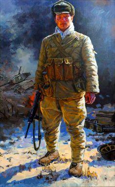 Chinese People's Volunteer troop in Korea Military Art, Military History, Military Uniforms, Steampunk, Red Army, Korean War, World War One, Nose Art, Modern Warfare