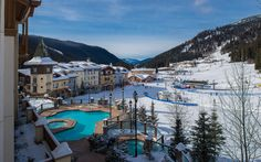 View of the outdoor pool at the Sun Peaks Grand, and proximity to the base of the ski hill