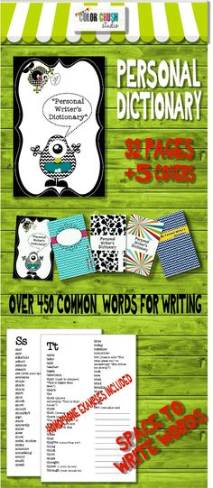 A Personal Writers's Dictionary which contains 498 of the most commonly words used in writing. Students can use their dictionary as a portable word wall and can add personal spelling words as well.