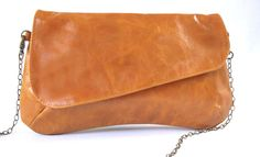 Camel leather clutch, leather purse, evening wallet