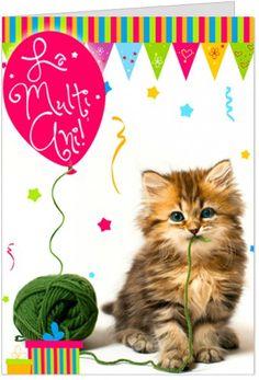 """La multi ani cu pisicuta Felicitare de zi de nastere personalizabila, cu o pisicuta, cadouri si un balon, iar mesajul sau este """"La multi ani"""""""