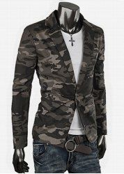 $19.69 Military Uniform Style Slimming Lapel One Button Long Sleeves Polyester Camouflage Blazer For Men