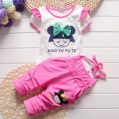 US $3.99 / piece  -20%  4 days left Newborn Baby Girl Clothes 2017 Summer Cartoon Flying Sleeve Tops + Overalls Cotton 2PCS/Set Baby Girl Outfits Kids Bebes Suits