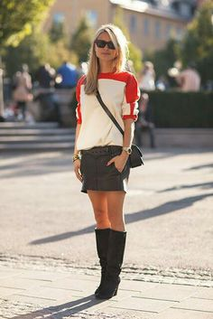Fall 2014 Street style. I love this trend-- sweater with a mini-- how simple is that?