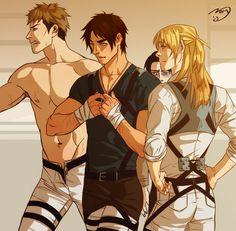 Shingeki no Kyojin grow up boys, by Noiry (OMG, hasta Armin está potentorro XD Y muero con ese Levi de fondo x_______D)