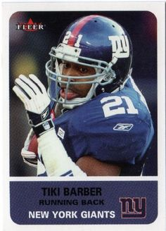 tiki barber football card   ... Tiki Barber #114 FLEER Tradition 2002 NFL American Football Trading