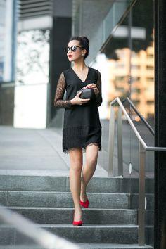 Lacy :: Crepe lace dress & scarlet details // Wendy's Lookbook