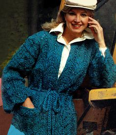Items similar to PDF Vintage Womens Ladies Belted Jacket Knitting Pattern Boho Rustic Shabby-Chic Romantic Snuggly Chunky Horseshoe Lace on Etsy Knitting Patterns, Crochet Patterns, Hippie Chick, Lace Jacket, Vintage Knitting, Retro Outfits, Belts For Women, Macrame, Knit Crochet