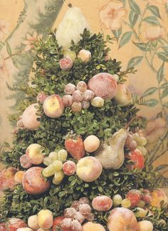Colonial Williamsburg Style Centerpiece Fruit Dusted With Sugar Would Be Beautiful For Thanksgiving Or Christmas Cones