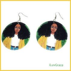 Wooden Earrings ~ Black Girl in Yellow Sweater ~ Wooden Earrings, Yellow Sweater, Fashion Earrings, Drop Earrings, Sweaters, Black, Design, Wood Earrings, Black People