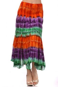 100 percent Cotton 1S/1M/1L Per Pack Orange (shown) This HIGH QUALITY skirt is VERY CUTE!! Beautifully colored, this sweet high waist A-line skirt is made from a super soft and comfy cotton fabric that is hand washable, and fits true to size.