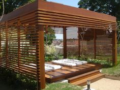 The wooden pergola is a good solution to add beauty to your garden. If you are not ready to spend thousands of dollars for building a cozy pergola then you may devise new strategies of trying out something different so that you can re Outdoor Pergola, Outdoor Areas, Outdoor Rooms, Outdoor Living, Outdoor Decor, Outdoor Yoga, Pergola Swing, Interior Exterior, Exterior Design