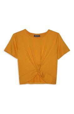 Primark - Favourites Yellow Clothes, Primark, Korean Fashion, Junior Year, Crop Tops, Bts Wallpaper, Mustard, Knot, Closet