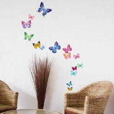 Decowall, 15 Vibrant Schmetterlinge Wandsticker