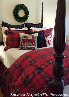 "Tartan Bedding is perfect for winter! ""Road Trip Santa Pillow"" looks great too from Between Naps on the Porch."