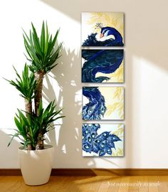 Multiple Canvas Peacock Painting by SweetSerendipity01 on Etsy, $85.00 #ART #PEACOCK #PAINTING #PANELS