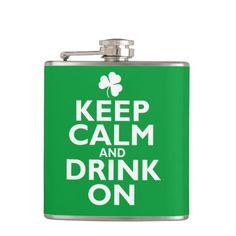 Keep Calm St Patricks Day Humor Flask