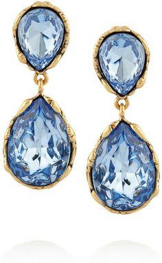 Oscar de la Renta Gold-plated crystal clip earrings on shopstyle.com