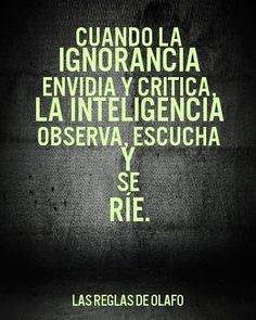 When ignorance criticizes, intelligence observes, listens and laughs.