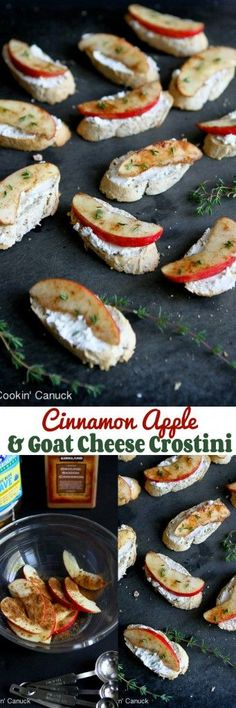 Healthy Recipes : Illustration Description Cinnamon Apple and Goat Cheese Crostini…Sometimes the simplest recipes are the best! Only 44 calories and 1 Weight Watchers SmartPoint per crostini. Appetizer Recipes, Snack Recipes, Cooking Recipes, Ww Recipes, Cheese Recipes, Recipes Dinner, Apple Recipes, Fall Recipes, Fingers Food