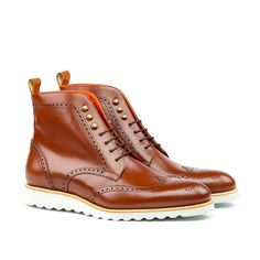 Custom Made Military Brogue Boot in Cognac Box Calf Leather - Prada Shoes Mens - Ideas of Prada Shoes Mens - Robert August Military Brogue Boots Leather Chelsea Boots, Leather Slip Ons, Leather Sneakers, Leather Men, Calf Leather, Custom Made Shoes, Custom Boots, Custom Design Shoes, Mens Fashion Shoes