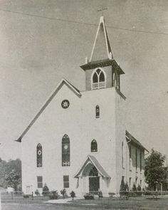 """Exterior of Ridge Valley Reformed United Church of Christ 1947. The bell tower, stained glass and covered entrance were added in 1901.  The door was in the center under the large center window, from 1854-1901.  There is a stone with the date 1854 """"Rich Vally Church""""  above where the door was."""