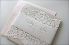 Lace Wedding Invitation, Shelly & Jason: soft. neutral. blush. ivory. cream. champagne. metallic. elegant. beautiful. pocket. on Etsy, $100.00