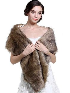 Winter Wedding Ideas - Aukmla Women's Fur Wraps for Wedding Faux Stole Shrug Winter Bridal Wedding Cover Up (Brown, 2 style) (long style fur) *** You can find more details by visiting the image link. #WinterWeddingIdeas
