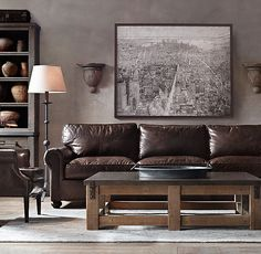 Lancaster Leather Sofas - brompton pewter, italian bershire pewter, distressed ebony