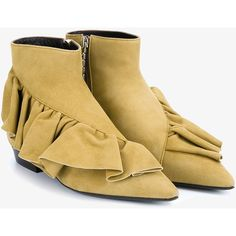 J.W.Anderson Desert Ruffle Ankle Bootie (42.610 RUB) ❤ liked on Polyvore featuring shoes, boots, ankle booties, suede boots, ankle boots, bootie boots, pointed-toe flats and flat heel ankle boots